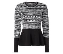 Pullover mit grafischem Muster und Schößchen
