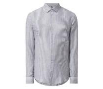 Slim Fit Business-Hemd aus Hanf-Baumwoll-Mix