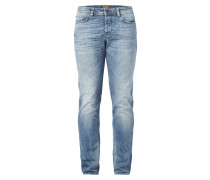 Double Stone Washed Tapered Fit Jeans