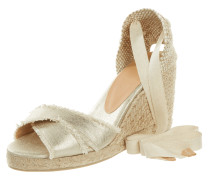 Wedges in Metallicoptik mit Keilabsatz