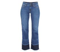 Cropped Flared Fit Jeans mit offenem Saum