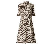Blusenkleid aus Leinen mit Zebramuster