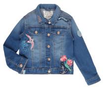 Jeansjacke mit Stickereien und Aufnähern