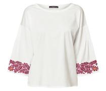 Shirt mit floralen Stickereien