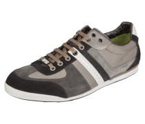 Sneaker aus Veloursleder mit Textileinsatz