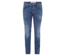 Jeans im Used Look inklusive Halstuch