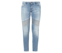 Slim Fit Stone Washed Jeans mit Steppungen