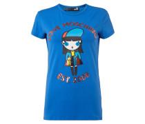 T-Shirt mit Comic-Print und Pailletten