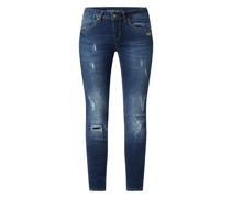 Cropped Skinny Fit Jeans mit Stretch-Anteil Modell 'Faye'