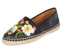 Espadrilles aus Leder mit floralen Stickereien
