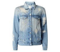 Destroyed Look Jeansjacke mit Zierperlen