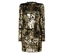 Kleid mit Besatz aus Wende-Pailletten