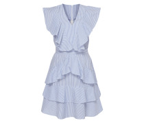 Kleid mit Streifenmuster und Volantbesatz