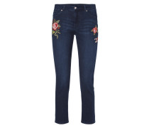 Stone Washed Slim Fit Jeans mit Stickereien