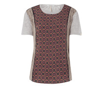 Shirt aus Leinen mit Kontrasteinsätzen