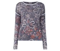 Pullover mit floralem Muster und Ziersteinbesatz