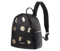 Rucksack aus Leder mit Stickereien und Patches