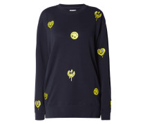 Sweatshirt mit Smiley-Stickereien