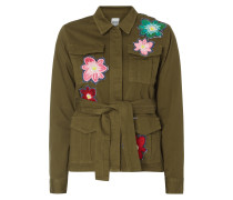 Fieldjacket mit floralen Applikationen