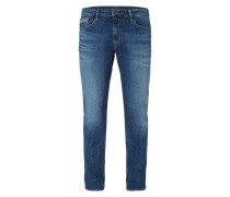 Stone Washed Slim Straight Fit Jeans