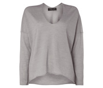 Oversized Pullover aus Wolle - meliert