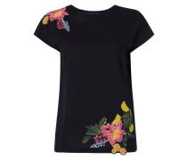 T-Shirt mit floralen Aufnähern