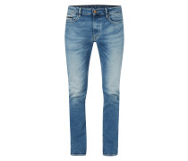 Double Stone Washed Slim Straight Fit Jeans