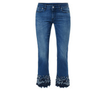 Stone Washed Jeans mit Fransenbesatz