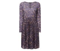 Kleid mit Effektgarn und Blättermuster