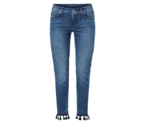 Stone Washed Slim Fit Jeans mit Zierquasten