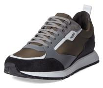 Sneaker aus Textil und Leder mit Kontrastbesatz