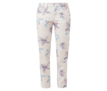 Jeans mit floralem Muster und Zierschleifen