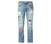 Straight Fit Jeans im Destroyed Look mit Prints