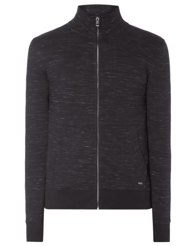 Slim Fit Sweatjacke in Melangeoptik