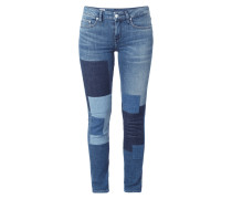 Stone Washed Slim Fit Jeans mit Patches
