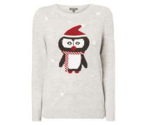 Pullover mit eingestricktem Pinguin
