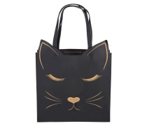 Tote Bag in Lackoptik mit Katzen-Design