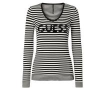 Pullover mit Logo aus Pailletten - gestreift