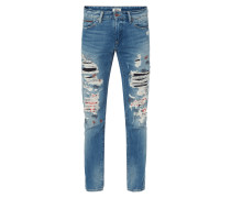 Slim Fit Jeans im Destroyed & Repaired Look