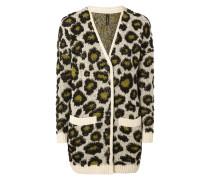 Longcardigan mit eingestricktem Leopardenmuster