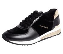 Sneaker aus Samt mit Lederbesatz