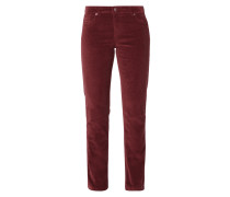 Straight Fit 5-Pocket-Cordhose mit Label-Patch