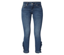Stone Washed Cropped 5-Pocket-Jeans