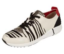 Sneaker aus Leder mit Fellbesatz und Zebramuster