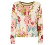 Cardigan mit floralem Muster und Effektgarn