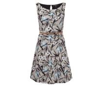 Kleid mit Rippenstruktur und floralem Muster