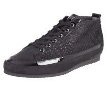 Sneaker aus Lack- und Veloursleder