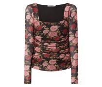 Shirt aus Mesh mit floralem Muster