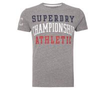 T-Shirt mit Label-Print - meliert