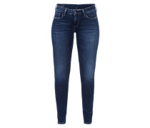 Stone Washed Slim Leg Jeans